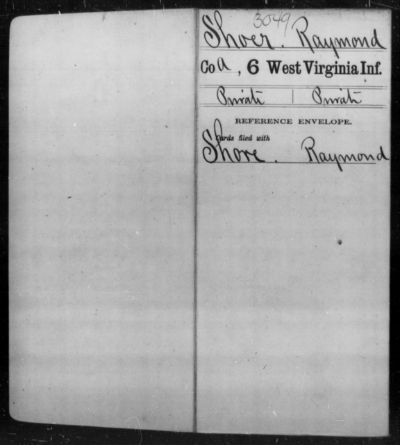 Shoer, Raymond - Age [Blank], Year: [Blank] - Sixth Infantry - West Virginia