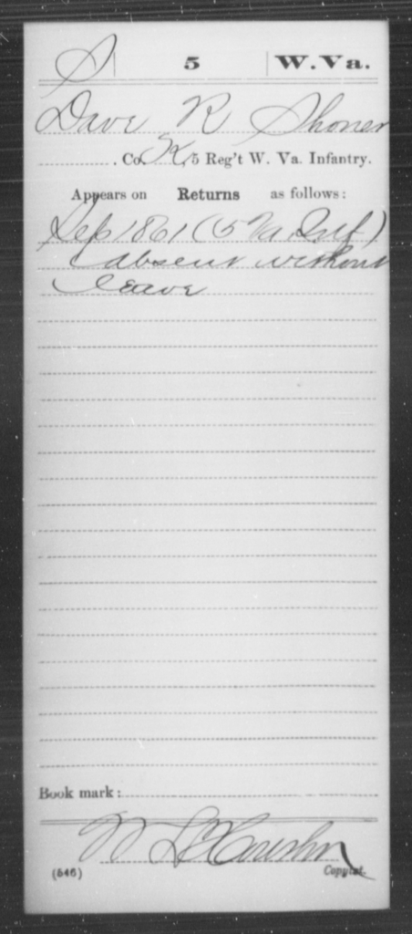 Shoner, Dave R - Age [Blank], Year: 1861 - Miscellaneous Card Abstracts of Records - West Virginia
