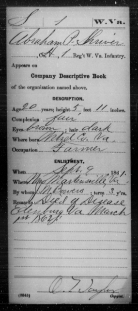 Shriver, Abraham P - Age 20, Year: 1861 - Miscellaneous Card Abstracts of Records - West Virginia