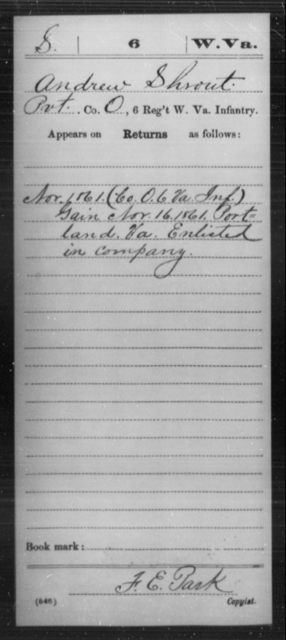 Shrout, Andrew - Age [Blank], Year: 1861 - Miscellaneous Card Abstracts of Records - West Virginia
