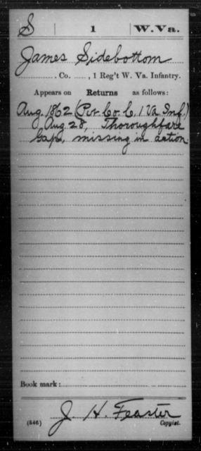 Sidebottom, James - Age [Blank], Year: 1862 - Miscellaneous Card Abstracts of Records - West Virginia