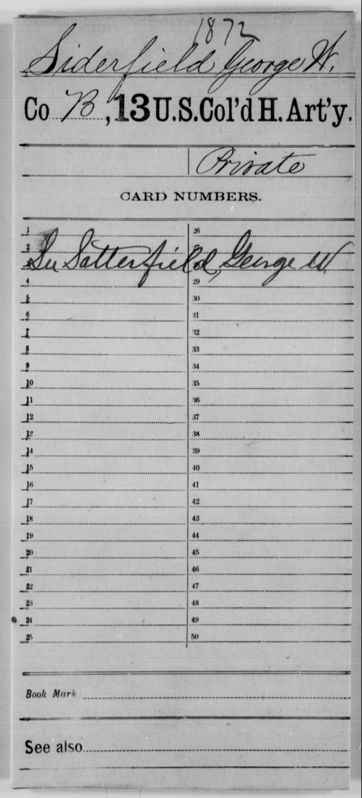 Siderfield, George W - Age [Blank], Year: [Blank] - 13th US Colored Heavy Artillery - United States Colored Troops: Artillery Organizations