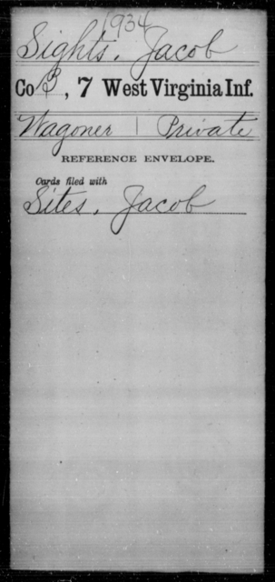 Sights, Jacob - Age [Blank], Year: [Blank] - Seventh Infantry - West Virginia