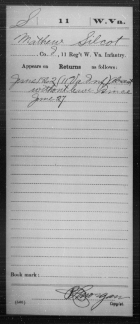 Silcot, Mathew - Age [Blank], Year: 1862 - Miscellaneous Card Abstracts of Records - West Virginia