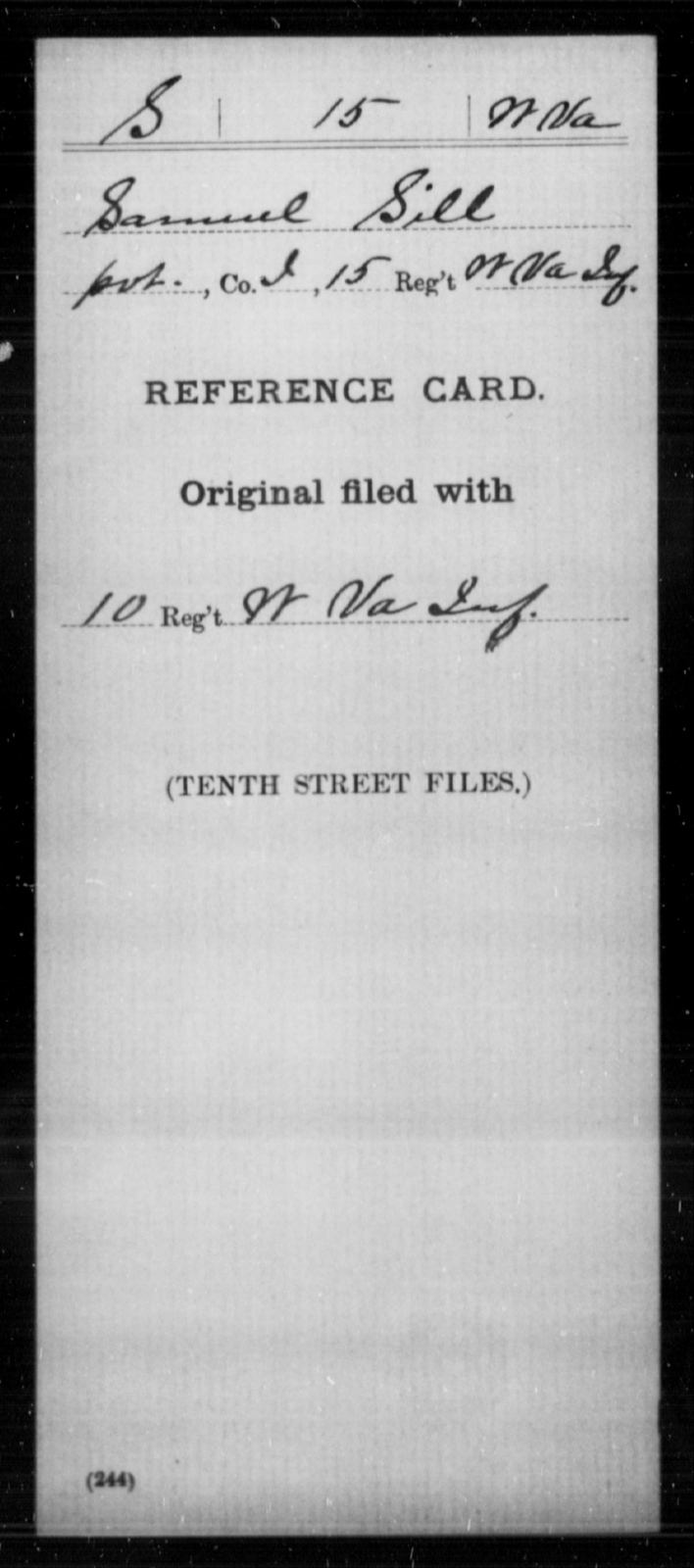 Sill, Samuel - Age [Blank], Year: [Blank] - Miscellaneous Card Abstracts of Records - West Virginia