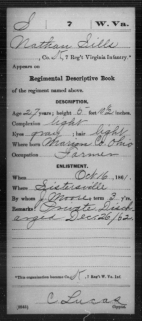 Sills, Nathan - Age 27, Year: 1861 - Miscellaneous Card Abstracts of Records - West Virginia