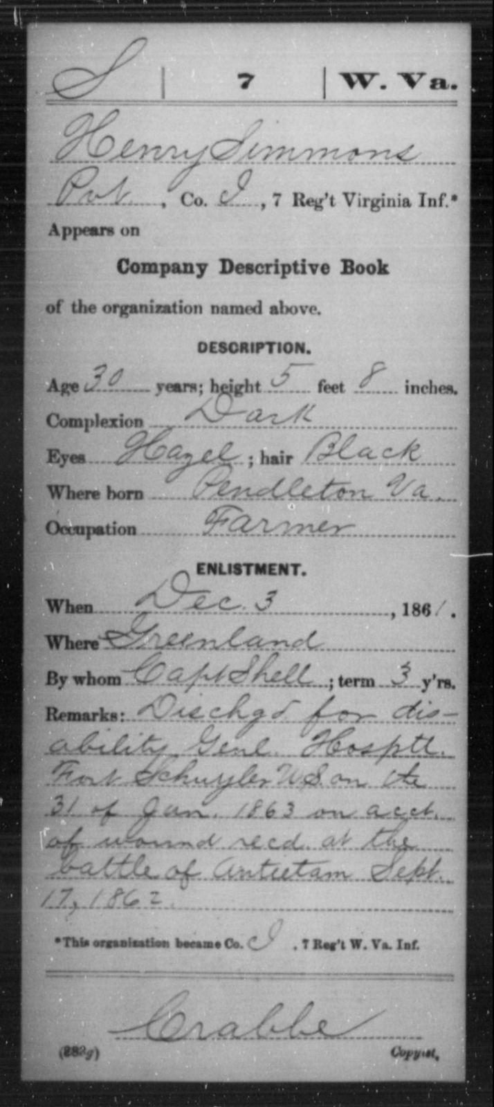 Simmons, Henry - Age 30, Year: 1861 - Miscellaneous Card Abstracts of Records - West Virginia