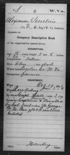 Sinclair, Alexander - Age 18, Year: 1861 - Miscellaneous Card Abstracts of Records - West Virginia