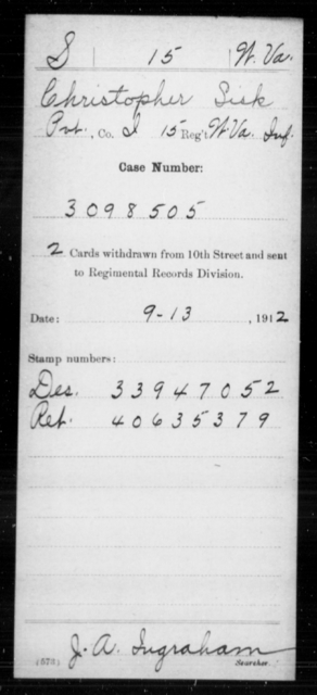 Sisk, Christopher - Age [Blank], Year: [Blank] - Miscellaneous Card Abstracts of Records - West Virginia