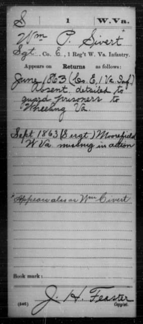Sivert, Wm P - Age [Blank], Year: 1863 - Miscellaneous Card Abstracts of Records - West Virginia