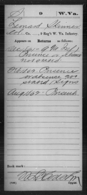 Skinner, Leonard - Age [Blank], Year: 1861 - Miscellaneous Card Abstracts of Records - West Virginia