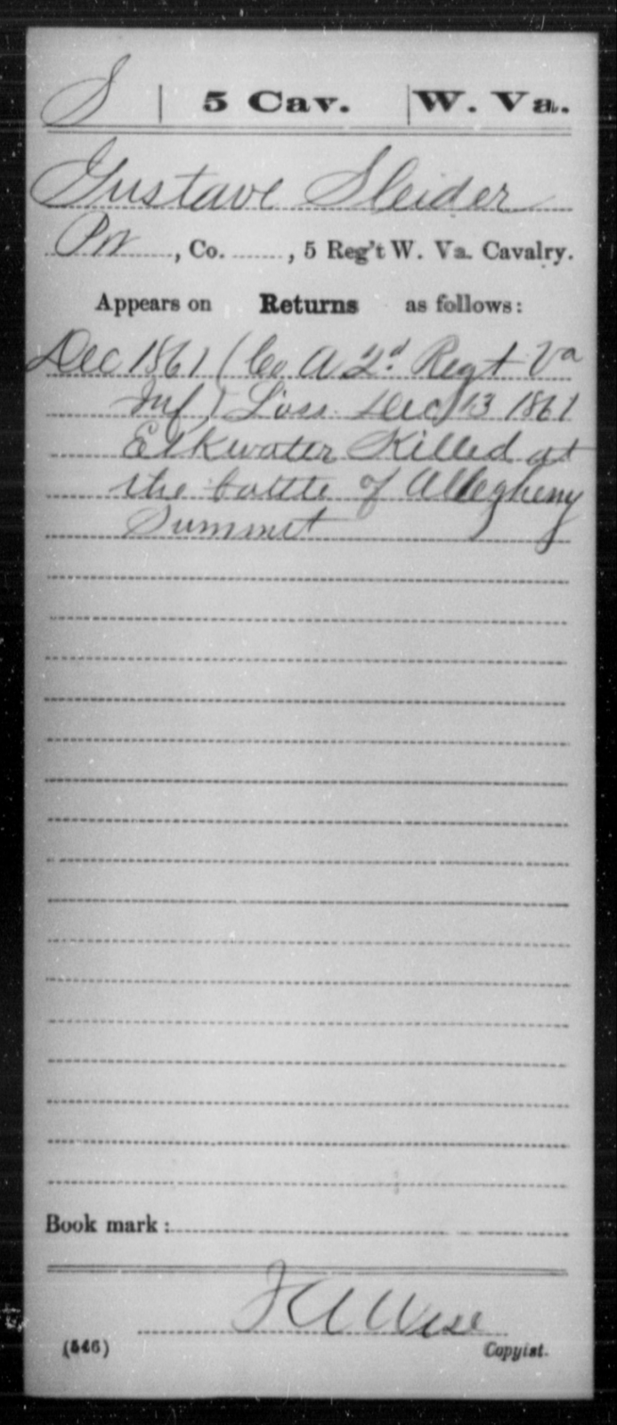 Sleider, Gustave - Age [Blank], Year: 1861 - Miscellaneous Card Abstracts of Records - West Virginia