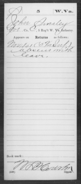 Smaley, John - Age [Blank], Year: 1861 - Miscellaneous Card Abstracts of Records - West Virginia