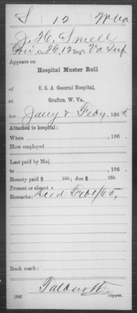 Smell, J H - Age [Blank], Year: 1865 - Miscellaneous Card Abstracts of Records - West Virginia
