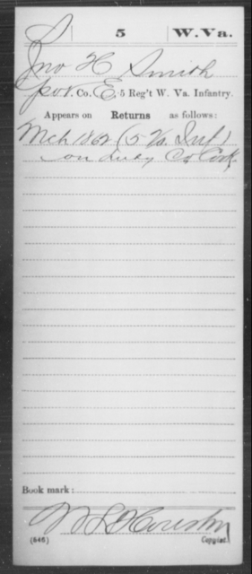 Smith, Jno H - Age [Blank], Year: 1862 - Miscellaneous Card Abstracts of Records - West Virginia
