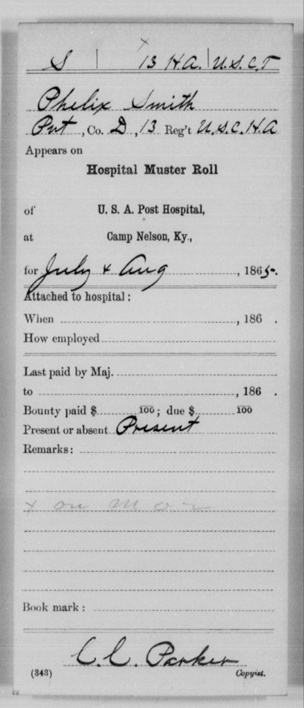 Smith, Phelix - Age [Blank], Year: 1865 - 13th US Colored Heavy Artillery, Misc Cards - United States Colored Troops: Artillery Organizations