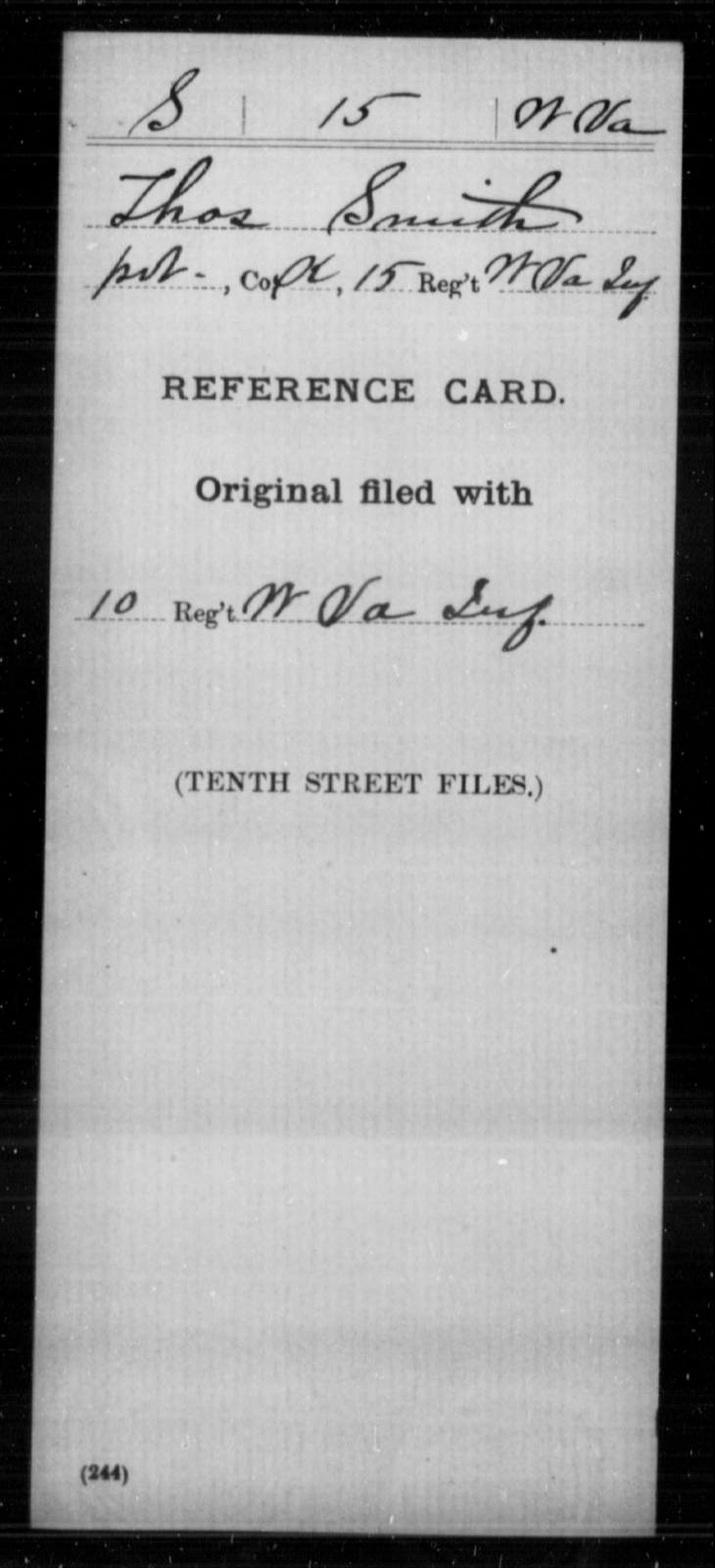 Smith, Thos - Age [Blank], Year: [Blank] - Miscellaneous Card Abstracts of Records - West Virginia