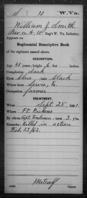 Smith, William J - Age 48, Year: 1861 - Miscellaneous Card Abstracts of Records - West Virginia