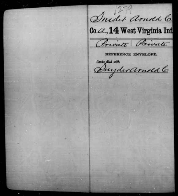 Snider, Arnold C - Age [Blank], Year: [Blank] - Fourteenth Infantry, C-Z - West Virginia