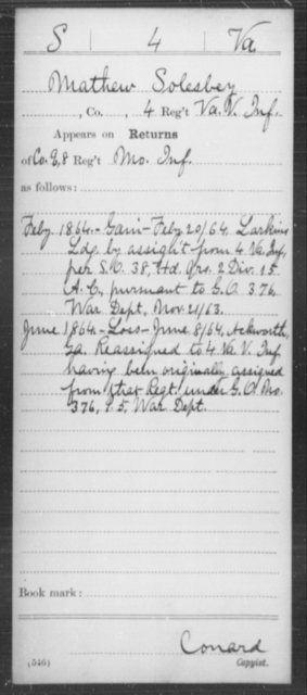 Solesbey, Mathew - Age [Blank], Year: 1864 - Miscellaneous Card Abstracts of Records - West Virginia