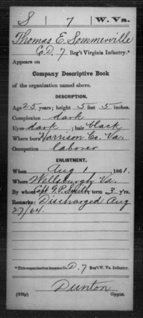 Sommerville, Thomas E - Age 25, Year: 1861 - Miscellaneous Card Abstracts of Records - West Virginia