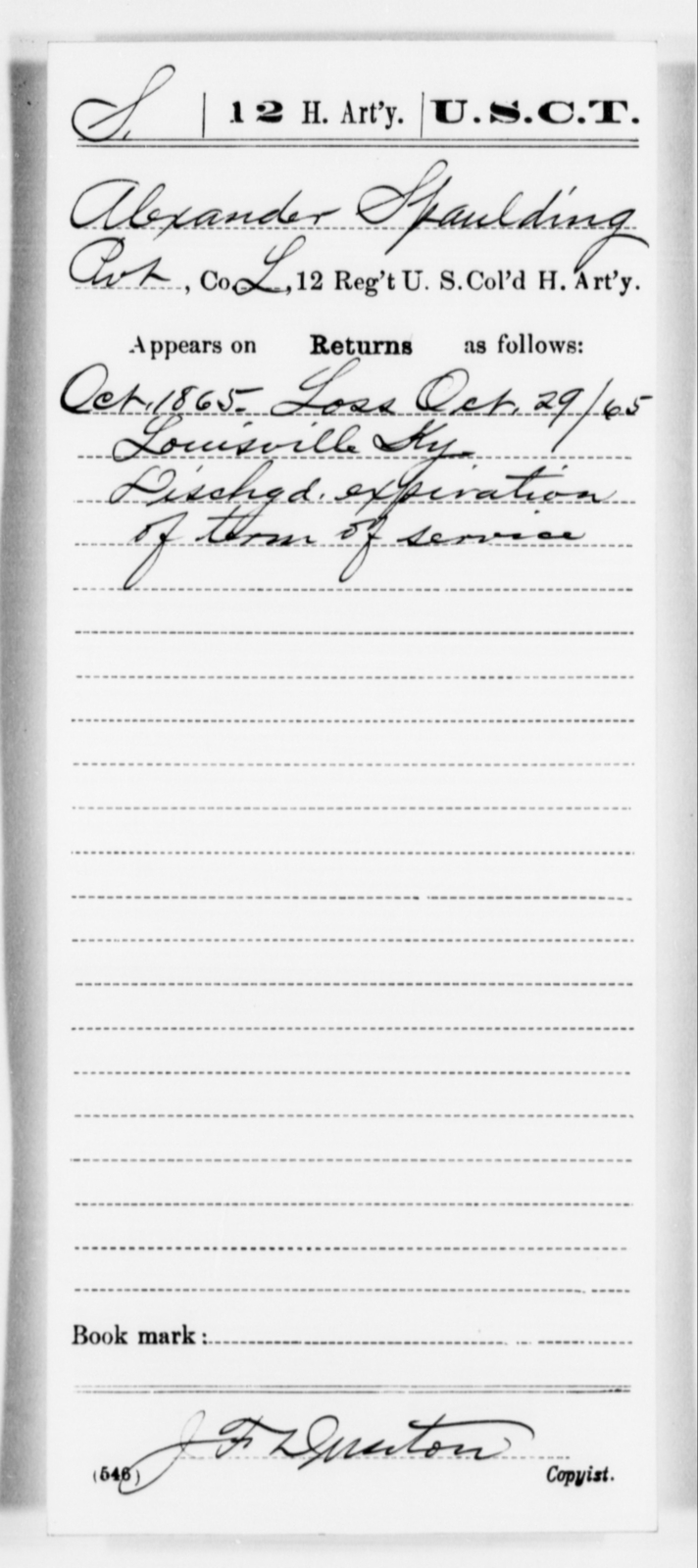 Spaulding, Alexander - Age [Blank], Year: 1865 - 12th US Colored Heavy Artillery, Misc Cards, H-Y - United States Colored Troops: Artillery Organizations