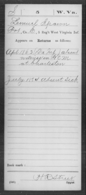 Spawn, Lemuel - Age [Blank], Year: 1863 - Miscellaneous Card Abstracts of Records - West Virginia