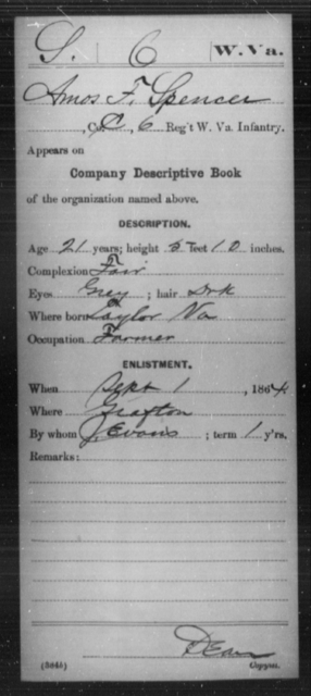 Spencer, Amos F - Age 21, Year: 1864 - Miscellaneous Card Abstracts of Records - West Virginia