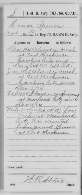 Spencer, Caesar - Age [Blank], Year: 1864 - 14th US Colored Heavy Artillery, Wi-Y AND Misc Cards - United States Colored Troops: Artillery Organizations