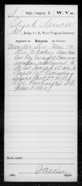 Spencer, Elijah - Age [Blank], Year: 1864 - Miscellaneous Card Abstracts of Records - West Virginia