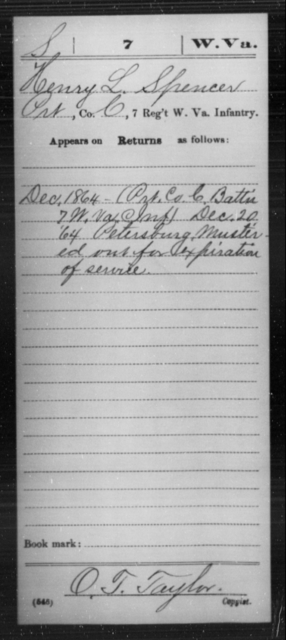 Spencer, Henry L - Age [Blank], Year: 1864 - Miscellaneous Card Abstracts of Records - West Virginia