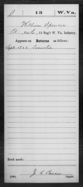 Spencer, William - Age [Blank], Year: 1863 - Miscellaneous Card Abstracts of Records - West Virginia