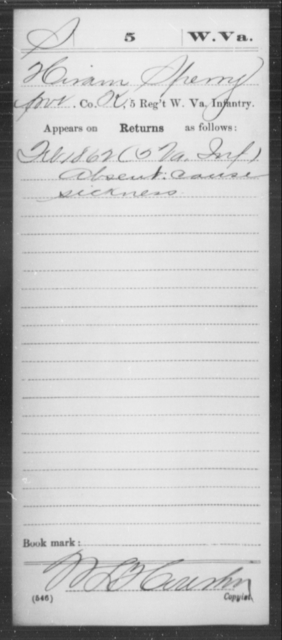 Sperry, Hiram - Age [Blank], Year: 1862 - Miscellaneous Card Abstracts of Records - West Virginia