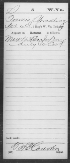 Spradling, Francis - Age [Blank], Year: 1863 - Miscellaneous Card Abstracts of Records - West Virginia