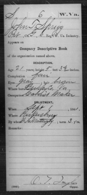 Sprigg, John T - Age 21, Year: 1861 - Miscellaneous Card Abstracts of Records - West Virginia