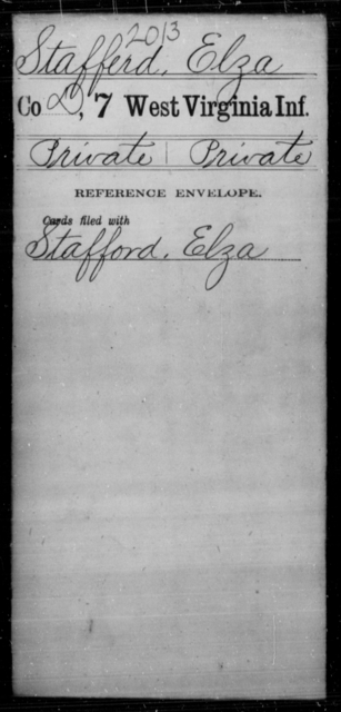 Stafferd, Elza - Age [Blank], Year: [Blank] - Seventh Infantry - West Virginia