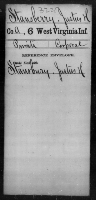 Stansberry, Justus H - Age [Blank], Year: [Blank] - Sixth Infantry - West Virginia