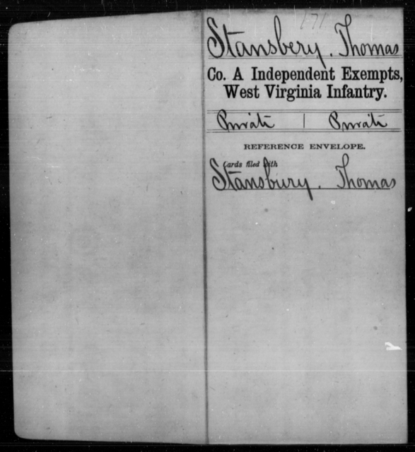 Stansbery, Thomas - Age [Blank], Year: [Blank] - Independent Company A, Infantry AND Independent Company B, Infantry AND Unassigned Men, M-S - West Virginia