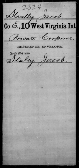 Steally, Jacob - Age [Blank], Year: [Blank] - Tenth Infantry - West Virginia