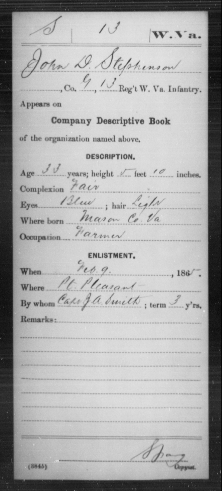 Stephenson, John D - Age 33, Year: 1865 - Miscellaneous Card Abstracts of Records - West Virginia