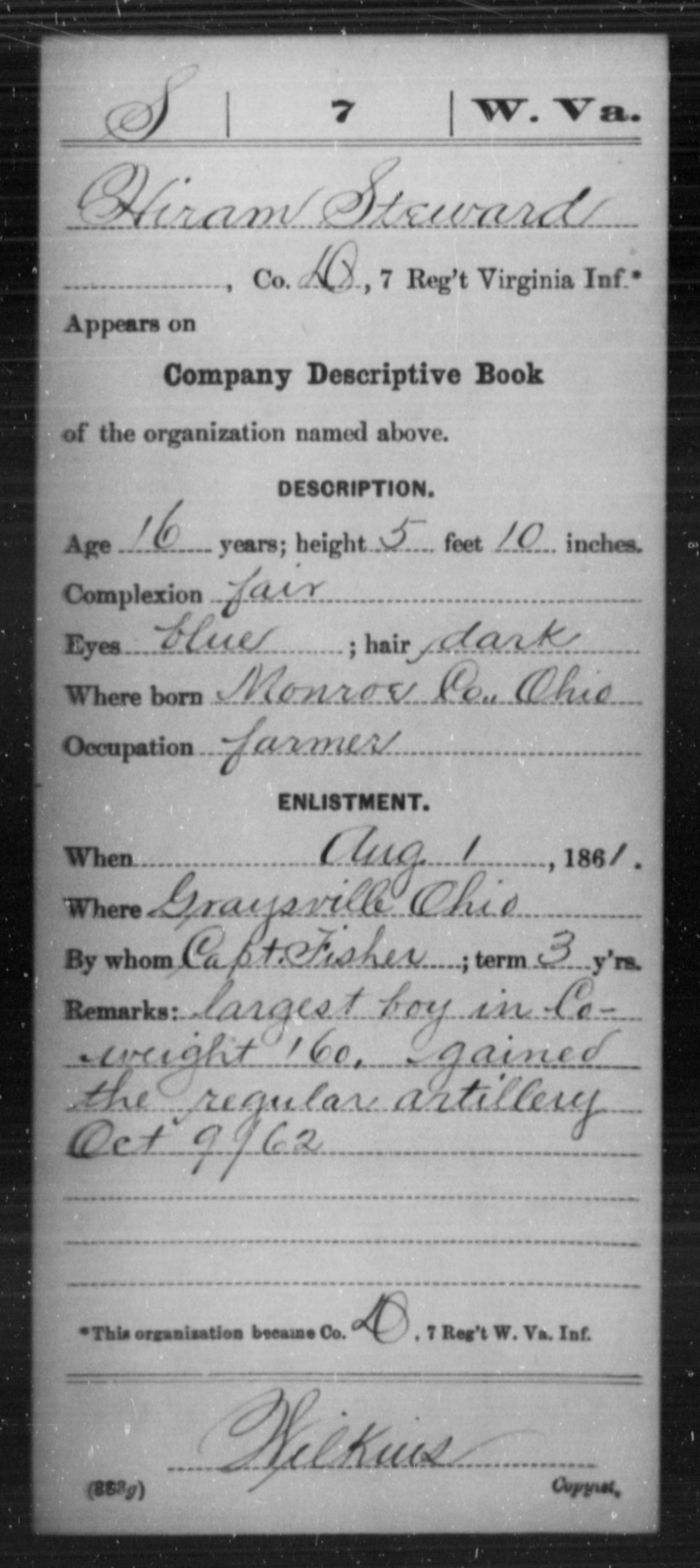 Steward, Hiram - Age 16, Year: 1861 - Miscellaneous Card Abstracts of Records - West Virginia
