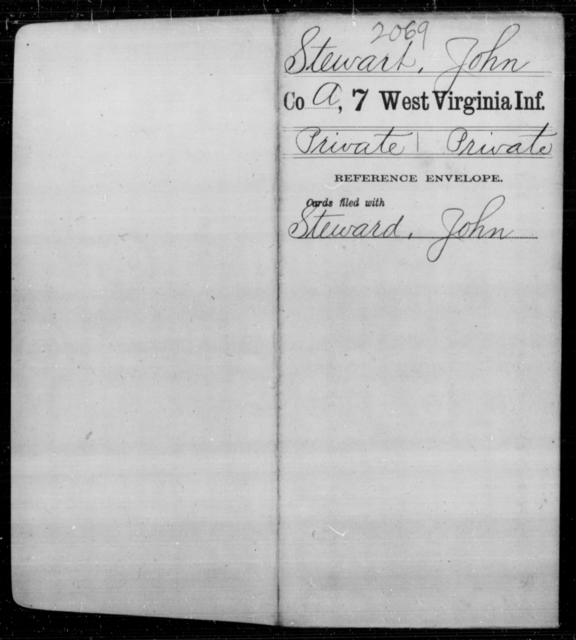 Steward, John - Age 29, Year: 1861 - Seventh Infantry - West Virginia