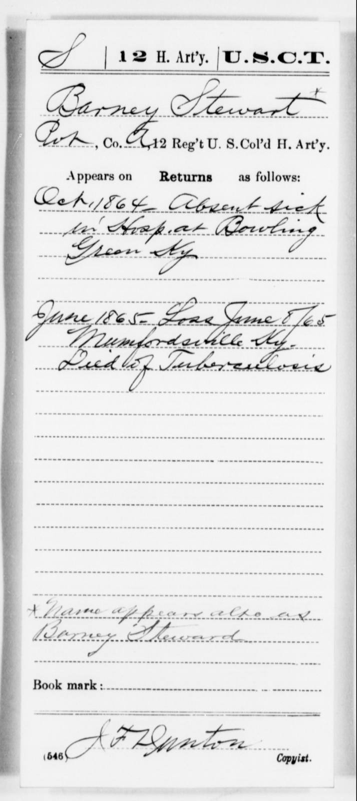 Stewart, Barney - Age [Blank], Year: 1864 - 12th US Colored Heavy Artillery, Misc Cards, H-Y - United States Colored Troops: Artillery Organizations