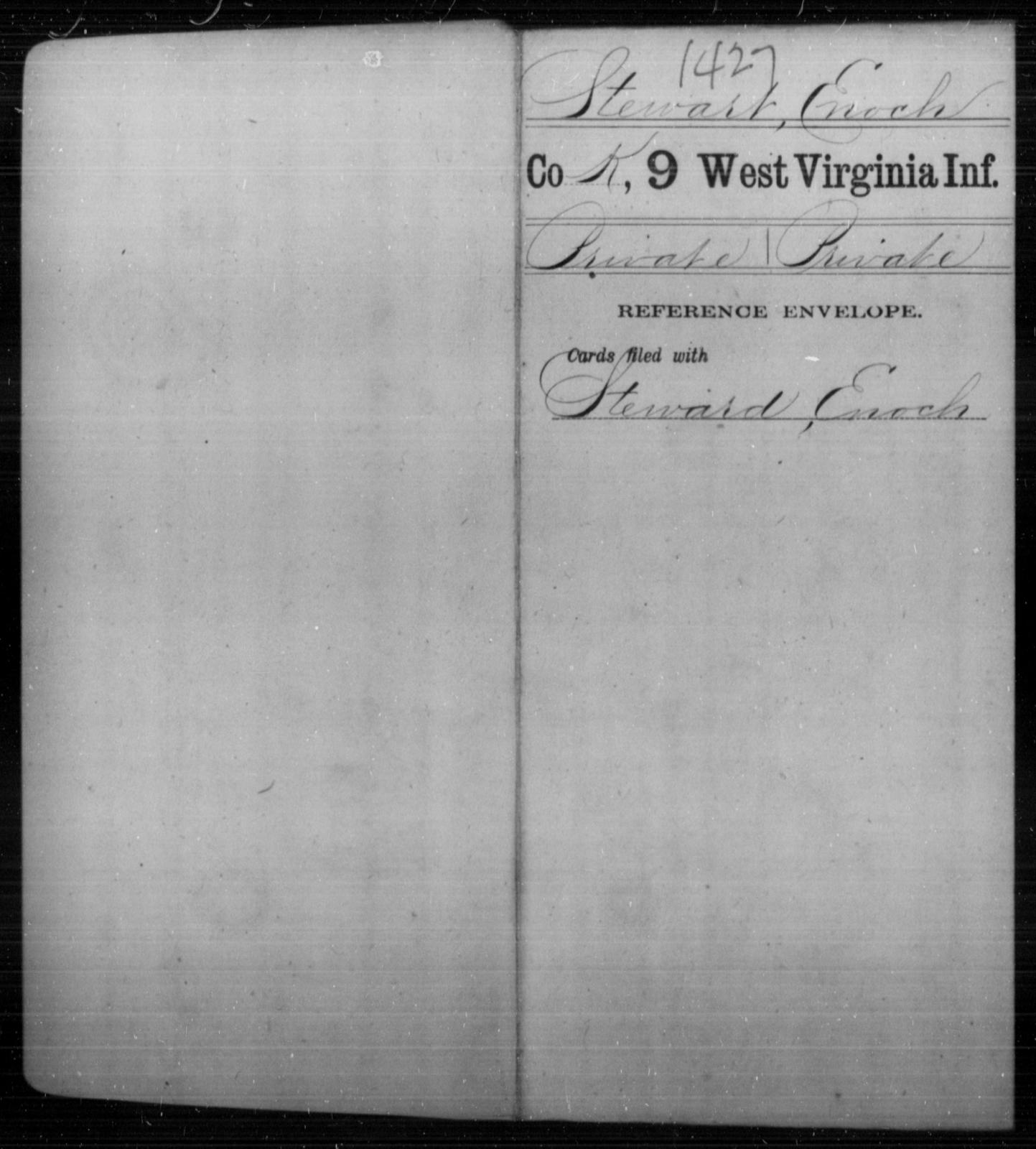 Stewart, Enoch - Age [Blank], Year: [Blank] - Ninth Infantry - West Virginia