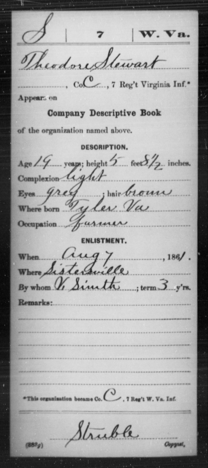Stewart, Theodore - Age 19, Year: 1861 - Miscellaneous Card Abstracts of Records - West Virginia