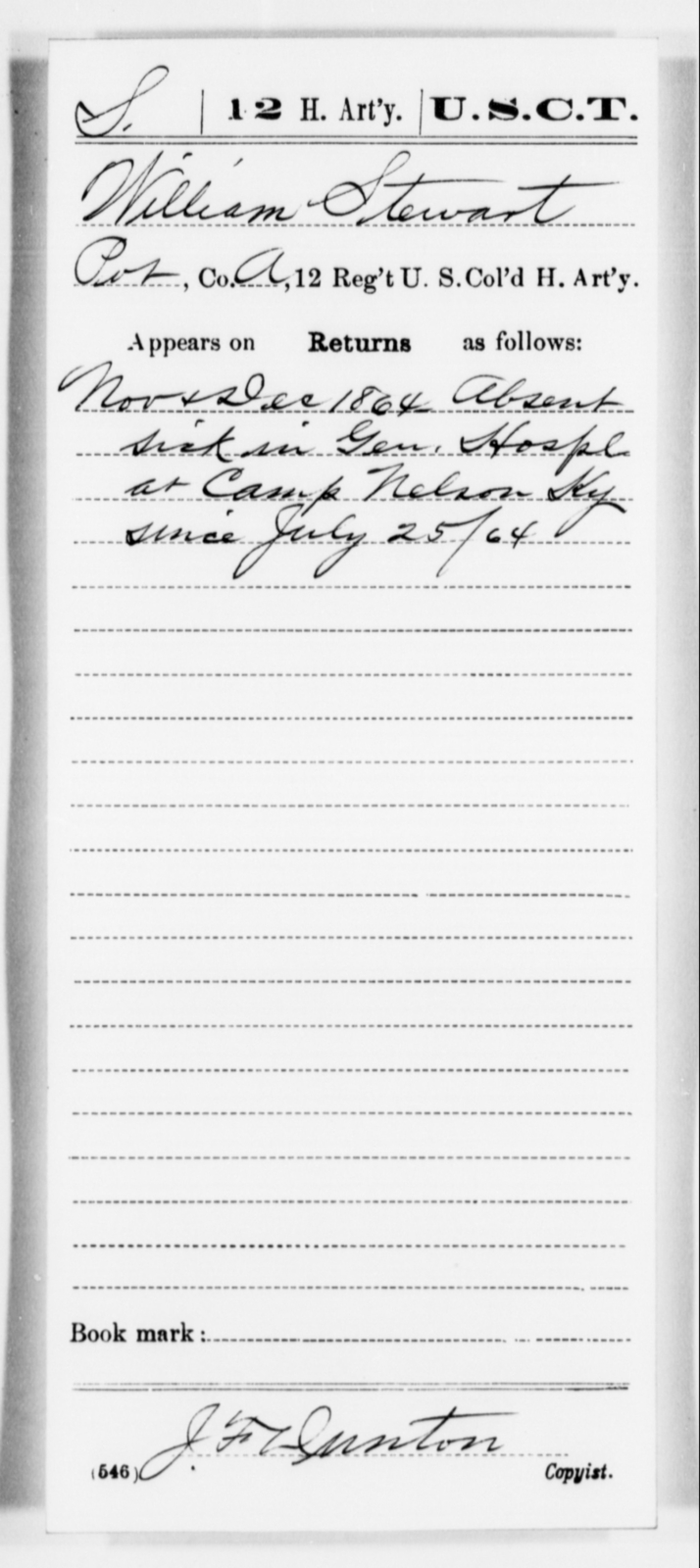 Stewart, William - Age [Blank], Year: 1864 - 12th US Colored Heavy Artillery, Misc Cards, H-Y - United States Colored Troops: Artillery Organizations
