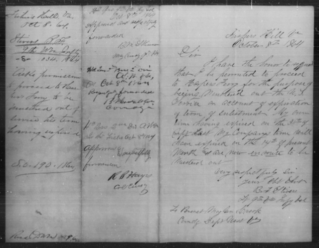 Stivers, B F - Age [Blank], Year: 1864 - Personal Papers Arranged by Organizations - West Virginia