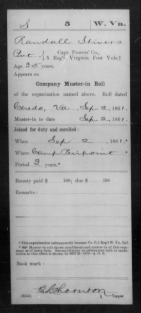 Stivers, Randall - Age 25, Year: 1861 - Fifth Infantry - West Virginia