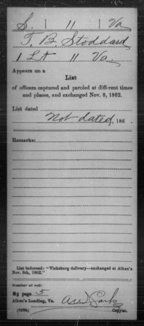 Stoddard, T B - Age [Blank], Year: 1862 - Miscellaneous Card Abstracts of Records - West Virginia
