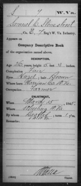 Stonestreet, Samuel C - Age 26, Year: 1865 - Miscellaneous Card Abstracts of Records - West Virginia